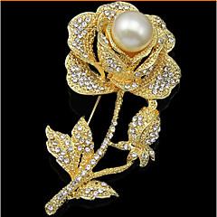 Damskie Broszki Kwiat Kwiaty Modny luksusowa biżuteria Perłowy Imitacja diamentu Flower Shape Rose Biżuteria Na Ślub Impreza Specjalne