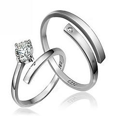 billige Damesmykker-Par Sølv / Zirkonium Parringe - Smykker Mode / minimalistisk stil Ring Til Bryllup / Fest / Gave