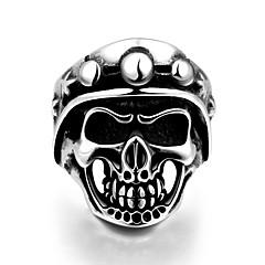 Кольцо Нержавеющая сталь В форме черепа Классика Панк Серебряный Бижутерия Halloween Повседневные Спорт 1шт