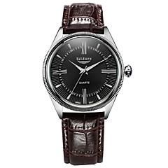 お買い得  メンズ腕時計-男性用 リストウォッチ クォーツ 30 m 耐水 レザー バンド ハンズ チャーム ブラック / ブラウン - ホワイト-ブラック ブラック ホワイト / ブラウン
