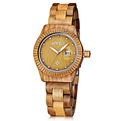 お買い得  レディース腕時計-女性用 ユニセックス ファッションウォッチ リストウォッチ 腕時計 ウッド 日本産 クォーツ カレンダー ウッド バンド ビンテージ チャーム ラグジュアリー 創造的 ブラック ブラウン グリーン カーキ ブラック Brown グリーン カーキ色