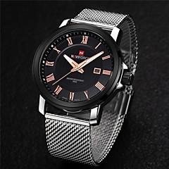 preiswerte Tolle Angebote auf Uhren-Herrn Armbanduhr Kalender Edelstahl Band Charme Silber