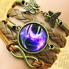 preiswerte Armbänder-Damen Wickelarmbänder - Edelstein, Leder Schmetterling, Tier, Galaxis Europäisch Armbänder Braun Für Party Alltag Normal