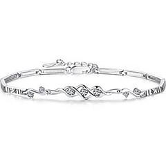 preiswerte Armbänder-Damen Kristall Ketten- & Glieder-Armbänder Bettelarmbänder - Sterling Silber Armbänder Weiß / Purpur Für Weihnachts Geschenke Hochzeit Party