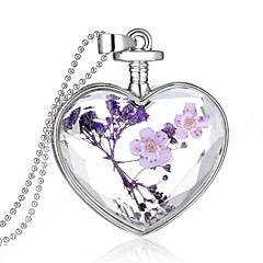 cheap Necklaces-Crystal Pendant - Sterling Silver Heart Fashion Purple Necklace For Wedding, Party, Daily