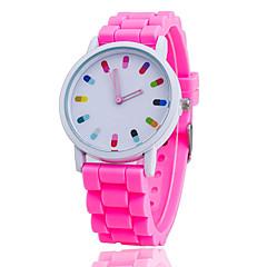 preiswerte Herrenuhren-Damen Armbanduhr Armbanduhren für den Alltag / Cool Silikon Band Freizeit / Modisch Schwarz / Weiß / Ein Jahr / SSUO 377