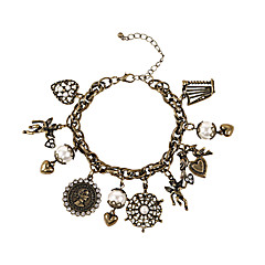 お買い得  ブレスレット-女性用 チャームブレスレット  -  真珠, 人造真珠, 樹脂 ブレスレット 青銅色 用途 結婚式 パーティー 日常 / ラインストーン