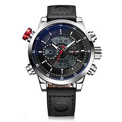 お買い得  メンズ腕時計-WEIDE 男性用 リストウォッチ デジタルウォッチ クォーツ デジタル 30 m 耐水 アラーム カレンダー レザー バンド アナログ/デジタル チャーム ブラック - シルバーとブラック ホワイト / シルバー / ステンレス / クロノグラフ付き / LCD / 2タイムゾーン