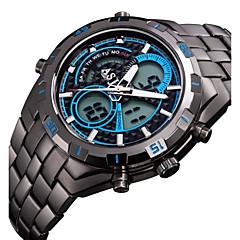 お買い得  大特価腕時計-ASJ 男性用 リストウォッチ 日本産 クォーツ 30 m 耐水 アラーム カレンダー ステンレス バンド アナログ/デジタル ぜいたく ブラック - ブラック オレンジ ブルー 2年 電池寿命 / クロノグラフ付き / LCD / 2タイムゾーン / Maxell SR626SW + SEIKO CR2025