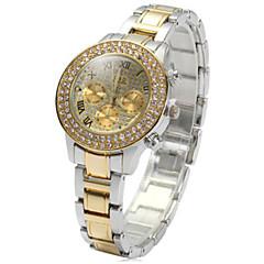 preiswerte Tolle Angebote auf Uhren-Damen Modeuhr Imitation Diamant Edelstahl Band Silber / Gold