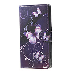 노키아 루미아 650에 대한 카드 슬롯과 보라색 나비와 덩굴 무늬 지갑 가죽 플립 스탠드 케이스