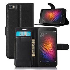Для Кейс для Mi Кошелек / Бумажник для карт / со стендом / Флип Кейс для Чехол Кейс для Один цвет Твердый Искусственная кожа Xiaomi