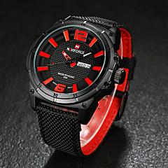 preiswerte Tolle Angebote auf Uhren-Herrn Armbanduhr Quartz Japanischer Quartz 30 m Wasserdicht Kalender Stoff Band Analog Schwarz / Braun - Gelb Rot Blau / Edelstahl