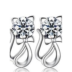 olcso Fülbevalók-Női Beszúrós fülbevalók utánzat Diamond Divat luxus ékszer jelmez ékszerek Gyöngy Ezüst Hamis gyémánt Animal Shape Cica Ékszerek