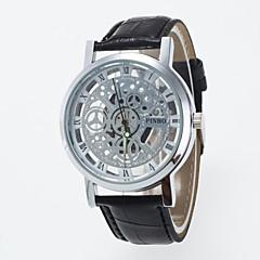 Hombre Reloj Esqueleto Cuarzo Huecograbado PU Banda Negro Marrón