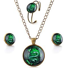 Hombre Mujer Juego de Joyas Estilo Simple Piedras preciosas sintéticas Vidrio Legierung Serpiente Collares Pendientes Pulsera Para Fiesta