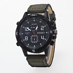 preiswerte Tolle Angebote auf Uhren-Herrn Armbanduhr Quartz Armbanduhren für den Alltag / PU Band Analog Freizeit Schwarz / Blau / Braun - Blau Jägergrün Khaki