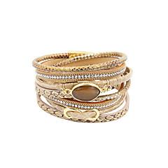 Dames Wikkelarmbanden Luxe Sieraden Meerlaags Met de hand gemaakt PERSGepersonaliseerd Kostuum juwelen Leder Strass Gesimuleerde diamant