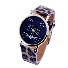 お買い得  大特価腕時計-女性用 リストウォッチ クォーツ ホット販売 PU バンド ハンズ チャーム ファッション ブラック / 白 / レッド - ストライプ ライトピンク ヒョウ柄 / ステンレス