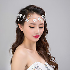 結婚式のパーティーのための女性のレースの花のクリスタルパールラインストーンカチューシャ額の髪の宝石