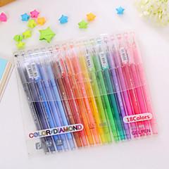18PCS Fresh Tail Diamond Lovely Diamond Color Pen Neutral Pen 18 Color Set(Random color)