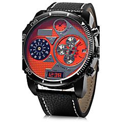 お買い得  メンズ腕時計-JUBAOLI 男性用 軍用腕時計 リストウォッチ クォーツ カジュアルウォッチ レザー バンド ハンズ チャーム ブラック / ブルー / レッド - イエロー レッド ブルー 1年間 電池寿命 / SSUO LR626