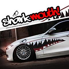 """abordables Accesorios de Exterior-un tamaño de 60 """"* 20"""" dientes de tiburón fresco en la boca ho calcomanías de carrocería de automóviles Pegatina reflectante (1 par)"""