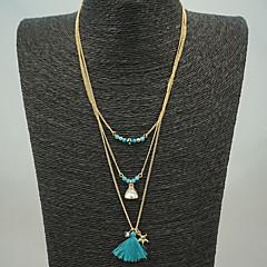 abordables -Mujer Borla / Cuentas Collares en capas - Borla Azul Gargantillas Para