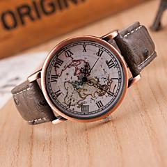 お買い得  レディース腕時計-女性用 ファッションウォッチ レザー バンド 世界地図柄 ブラック / レッド / ブラウン