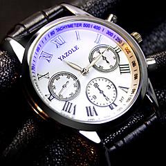 preiswerte Herrenuhren-YAZOLE Herrn Armbanduhr Armbanduhren für den Alltag Leder Band Charme Schwarz / Braun