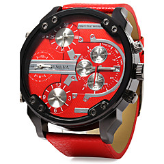 Men's Military Watch Quartz Calendar Dual Time Zones Three Time Zones Leather Band Luxury Cool Black Blue Red
