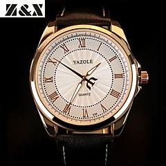 preiswerte Tolle Angebote auf Uhren-YAZOLE Herrn Armbanduhr Quartz Leder Band Analog Schwarz / Braun - Schwarz Braun Ein Jahr Batterielebensdauer