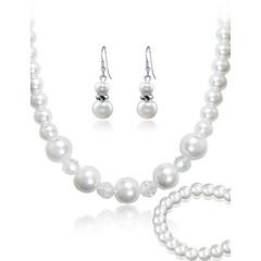 tanie Biżuteria damska-Damskie Zestawy biżuterii Imprezowa Do biura Paciorki Modny Impreza Specjalne okazje Urodziny Perłowy Imitacja pereł Materiał Bransoletka
