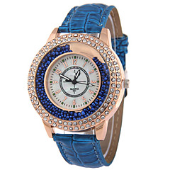 お買い得  大特価腕時計-女性用 クォーツ フロートクリスタル腕時計 カジュアルウォッチ レザー バンド Elegant ファッション ブラック 白 レッド ブラウン
