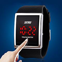 Heren Sporthorloge Digitaal horloge Digitaal LED Aanraakscherm Silicone Band Luxueus Zilver