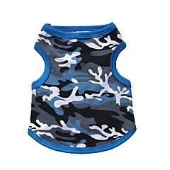 お買い得  犬用ウェア&アクセサリー-ネコ 犬 Tシャツ 犬用ウェア カモフラージュ ブラック ブルー コットン コスチューム ペット用 男性用 女性用 ファッション