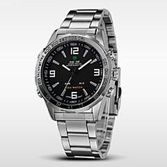 preiswerte Tolle Angebote auf Uhren-WEIDE Herrn Armbanduhr Alarm / Kalender / Chronograph Edelstahl Band Schwarz / Silber / Wasserdicht / LED / Duale Zeitzonen
