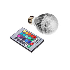 billige LED lyspærer-3W E26/E27 LED-globepærer leds Integreret LED 500lm RGB Fjernstyret Vekselstrøm 85-265