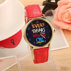 preiswerte Damenuhren-Damen Quartz Armbanduhr Schlussverkauf PU Band Retro Modisch Schwarz Weiß Blau Rot Grün Gelb