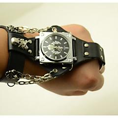 お買い得  大特価腕時計-男性用 ファッションウォッチ クォーツ レザー バンド ハンズ スカル ブラック / ブラウン - ブラック