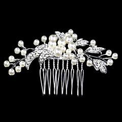 voordelige Haarsieraden-zilver kristallen parel haren kammen voor dame bruiloft sieraden