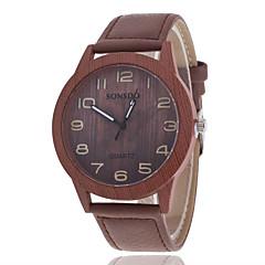 preiswerte Herrenuhren-Herrn Quartz Armbanduhr hölzern Armbanduhren für den Alltag Leder Band Charme Holz Modisch Braun