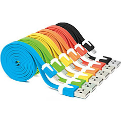 abordables Cables USB-Colorido usb 1m 2.0 macho a macho cable plano micro usb 2.0 para samsung huawei HTC teléfonos Android