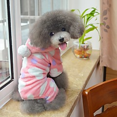お買い得  犬用ウェア&アクセサリー-ネコ 犬 パーカー ジャンプスーツ パジャマ 犬用ウェア 水玉 ブラック ピンク フリース コスチューム ペット用 男性用 女性用 キュート カジュアル/普段着