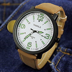 お買い得  メンズ腕時計-カップル用 リストウォッチ クォーツ 30 m 耐水 PU バンド ハンズ チャーム ファッション ブラック / ブラウン - ブラック ホワイトとブラック ホワイト / ブラウン