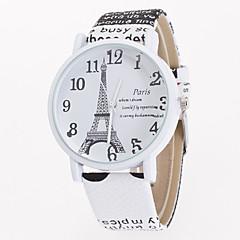 preiswerte Damenuhren-Damen Quartz Armbanduhr Armbanduhren für den Alltag Leder Band Blume Eiffelturm Modisch Weiß Blau Braun Khaki