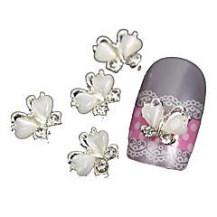 10 buc de zbor fluture cu piatra ochi 3d unghii din aliaj de decorare artă pisică alb