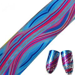 1pcs 100 * 4cm del clavo del brillo de transferencia arte pegatinas DIY geométricos de colores de línea de onda de uñas imagen redonda del