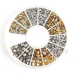 500db 1.2mm / 2mm / 3mm mini arany és ezüst kerek csap strasszos köröm díszítés