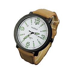 お買い得  メンズ腕時計-男性用 軍用腕時計 リストウォッチ クォーツ カジュアルウォッチ PU バンド ハンズ チャーム ブラック / ブラウン - ブラックとコーヒー ブラック / ホワイト ホワイト / ブラウン 1年間 電池寿命 / ステンレス / SSUO 377
